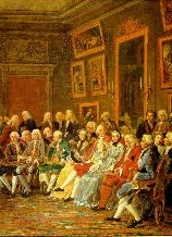 A Reading in the Salon of Mme Geoffrin, via Wikipedia