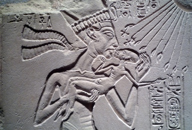 House Altar wih Akhenaten, Nefertiti and Three Daughters, detail with Akhenaten Holding Daughter by Steven Zucker, via Flickr