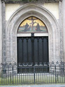 """The """"theses doors?""""  Wittenberg Thesentuer Schlosskirche by AlterVista, via Wikipedia."""