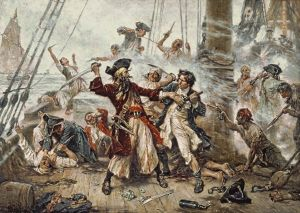 Capture of the Pirate, Blackbeard, 1718 depicting the battle between Blackbeard the Pirate and Lieutenant Maynard in Ocracoke Bay. Public Domain, from Wikipedia